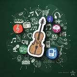Collage di spettacolo e di musica con le icone sopra Immagine Stock
