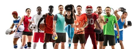 Collage di sport circa gli atleti femminili o i giocatori Il tennis, funzionamento, volano, pallavolo immagine stock