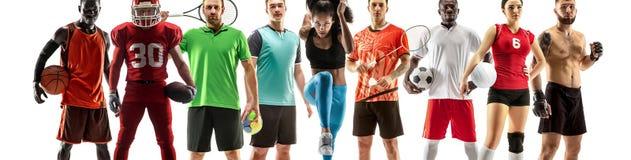 Collage di sport circa gli atleti femminili o i giocatori Il tennis, funzionamento, volano, pallavolo fotografia stock