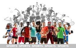 Collage di sport circa gli atleti femminili o i giocatori Il tennis, funzionamento, volano, pallavolo immagini stock