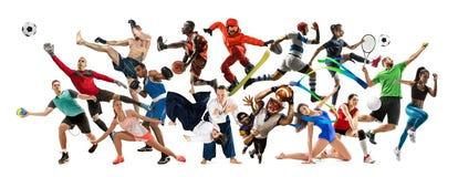 Collage di sport circa gli atleti o i giocatori Il tennis, funzionamento, volano, pallavolo fotografia stock libera da diritti