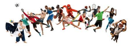 Collage di sport circa gli atleti o i giocatori Il tennis, funzionamento, volano, pallavolo immagini stock