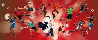 Collage di sport circa gli atleti o i giocatori Il tennis, funzionamento, volano, pallavolo fotografia stock