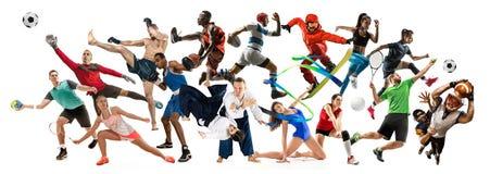 Collage di sport circa gli atleti o i giocatori Il tennis, funzionamento, volano, pallavolo immagini stock libere da diritti