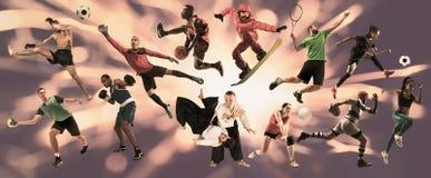 Collage di sport circa gli atleti o i giocatori Il tennis, funzionamento, volano, pallavolo fotografie stock libere da diritti