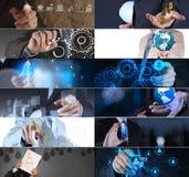 Collage di strategia aziendale della foto fotografie stock libere da diritti