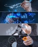 Collage di strategia aziendale della foto Fotografia Stock Libera da Diritti