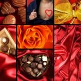 Collage di tema del biglietto di S. Valentino Fotografie Stock