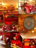 Collage del montaggio del camion dei vigili del fuoco dell'annata Immagine Stock