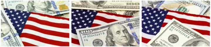 Collage di valuta di U.S.A. della bandiera americana Fotografia Stock Libera da Diritti