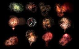 Collage di vari fuochi d'artificio variopinti isolati sul BAC nero Fotografia Stock