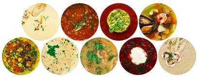 Collage di vari generi differenti di minestre fotografia stock libera da diritti