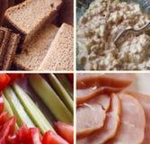 Collage di vari prodotti alimentari Immagini Stock