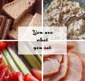 Collage di vari prodotti alimentari Pane, raccordo del tacchino, insalata del calamaro e cetrioli freschi con i pomodori Fotografia Stock