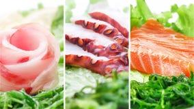 Collage di vari prodotti dei frutti di mare su fondo bianco Immagine Stock Libera da Diritti