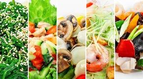 Collage di vari prodotti dei frutti di mare su fondo bianco Fotografia Stock