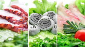 Collage di vari prodotti dei frutti di mare su fondo bianco Fotografia Stock Libera da Diritti