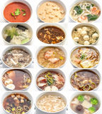 Collage di varie minestre Fotografia Stock Libera da Diritti