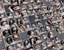 Collage di varietà delle maschere di trucco e di modo Fotografie Stock