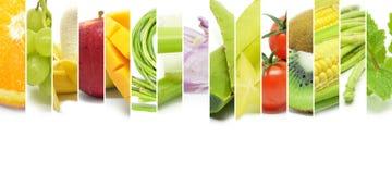 Collage di vario tipo frutta e verdure di colore Immagine Stock