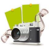 Vecchio collage della macchina fotografica della foto Immagine Stock