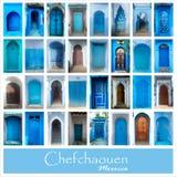 Collage di vecchie porte blu di Chefchaouen, Marocco Grande insieme della foto Immagini Stock