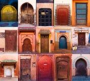Collage di vecchie porte di Marrakesh Immagini Stock Libere da Diritti