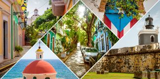 Collage di vecchio San Juan, Porto Rico fotografia stock