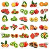 Collage di verdure della frutta di Ibrid su fondo bianco Fotografia Stock Libera da Diritti
