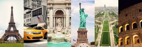 Collage di viaggio dei posti del famouse fotografie stock