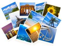 Collage di viaggio delle foto isolato su bianco Fotografia Stock