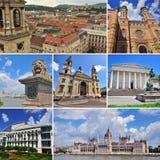 Collage di viaggio di Budapest Insieme di immagini dei punti di riferimento architettonici Fotografia Stock