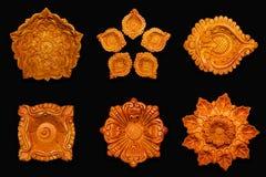 Collage di vista superiore di belle lampade dell'argilla del progettista Fotografia Stock Libera da Diritti