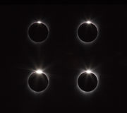 After totality the diamond ring reappears on solar eclipse Stock Images