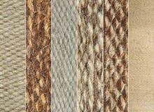 Collage die van de verschillende patronen van de de stoffentextuur van de kameelwol wordt gemaakt. Stock Afbeelding