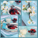 Collage die van uitstekend aqua blauw dienblad met bessen plaatsen Stock Foto's