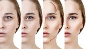 Collage die van vrouw make-up stap voor stap toepassen royalty-vrije stock fotografie