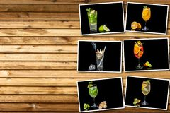 Collage different alcoholic cocktail. With fruits and ice on a black background royalty free stock photo