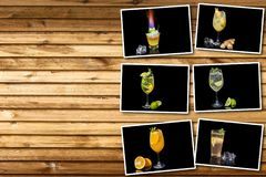Collage different alcoholic cocktail. With fruits and ice on a black background stock photos