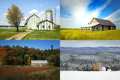 Different barns during 4 seasons stock image