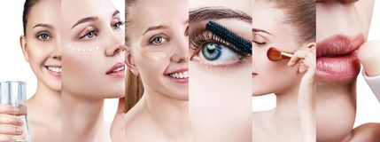 Collage of different beautician procedures of young woman. Over white backgrond Royalty Free Stock Images