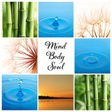 Collage of different beautiful pictures and text Mind, Body, Soul. Zen, balance, harmony stock photography