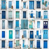 Collage of different blue old wooden doors from greek islands - Stock Images