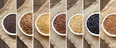 Collage of different cereals Royalty Free Stock Images