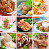 Collage. Of different chicken dishes - baked chicken legs, cutlets, fillet, sausage, shashlik Royalty Free Stock Image