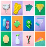 Three sponges and a bottle of spray for cleaning stock photography