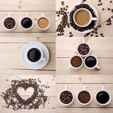Collage of different coffee details. Royalty Free Stock Image