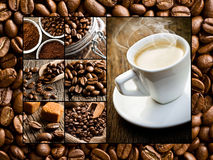 Collage of different coffee motifs Royalty Free Stock Photography