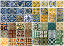 Collage of different colored pattern tiles in Portugal Stock Photo