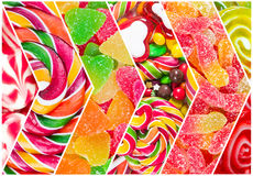 Collage of different colorful  candy Royalty Free Stock Image